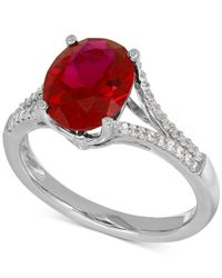 Macy's - Metallic Lab-created Ruby (3-5/8 Ct. T.w.) And White Sapphire (1/5 Ct. T.w.) Ring In Sterling Silver - Lyst