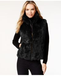 Surell | Black Pockets & Front Zip Rabbit Fur Vest | Lyst