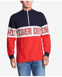 Tommy Hilfiger Red Half-zip Graphic Sweater for men