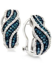 Wrapped in Love - Metallic White And Blue Diamond Hoop Earrings In Sterling Silver (1 Ct. T.w.) - Lyst