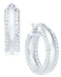 Giani Bernini Metallic Polished Rope Edge Hoop Earrings In Sterling Silver