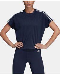 Adidas Blue 3-stripe Cropped T-shirt