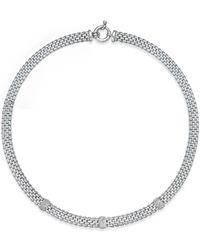 Macy's | Metallic Diamond Station Dew Drop Collar Necklace (3/8 Ct. T.w.) In Sterling Silver | Lyst