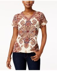 Style & Co. | Multicolor Printed Cuffed-sleeve Top | Lyst