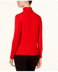 Cable & Gauge - Red Ribbed Turtleneck Sweater - Lyst