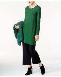 Eileen Fisher | Green Round-neck Tunic | Lyst