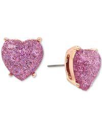 Betsey Johnson - Pink Rose Gold-tone Lavender Glitter Heart Stud Earrings - Lyst