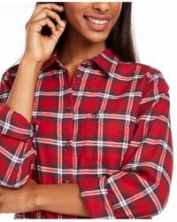 Fjallraven Red Ovik Cotton Plaid Flannel Shirt