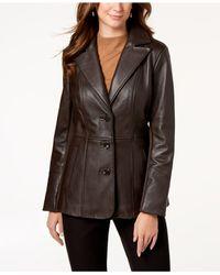 Jones New York - Brown V-stitched Leather Jacket - Lyst