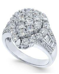 Macy's - Metallic Diamond Teardrop Cluster Ring (2 Ct. T.w.) In 14k White Gold - Lyst
