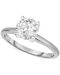 Macy's | Metallic Certified Diamond Engagement Ring In 14k White Gold (1-1/4 Ct. T.w.) | Lyst