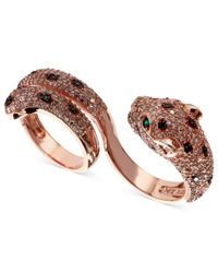 Effy Collection - White (1-3/4 Ct. T.w.) And Black Diamond (1/8 Ct. T.w.) And Emerald Accent Panther 2 Finger Ring In 14k Rose Gold - Lyst