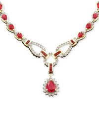 Macy's Metallic Sapphire (12-1/3 Ct. T.w.) And Diamond (1-1/5 Ct. T.w.)toggle Necklace In 14k White Gold (also In Ruby & Emerald)