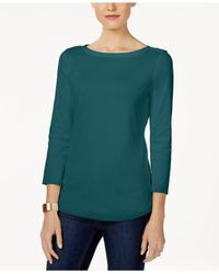 Charter Club Green Boat-neck Shoulder-button Top