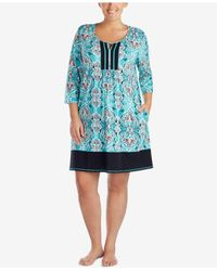 Ellen Tracy | Blue Plus Size Keyhole Cotton-blend Sleepshirt | Lyst