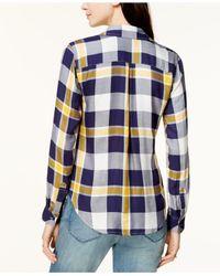 Maison Jules - Blue Plaid Utility Shirt - Lyst