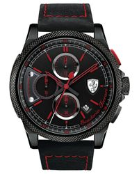Ferrari - Men's Chronograph Formula Italia S Black Leather Strap Watch 46mm 830273 for Men - Lyst