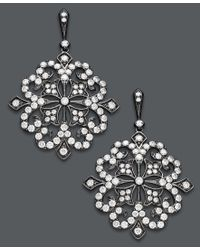 Effy Collection - Metallic Deco By Effy Diamond And Black Rhodium Diamond Flower Earrings (1-5/8 Ct. T.w.) In 14k White Gold - Lyst