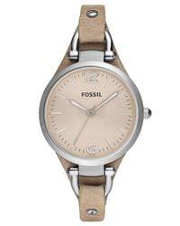 Fossil | Metallic Women's Georgia Sand Leather Strap Watch 32mm Es2830 | Lyst