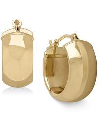 Macy's - Metallic Polished Huggie Hoop Earrings In 14k Gold - Lyst