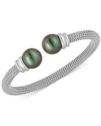 Majorica | Metallic Bracelet, Organic Man Made Black Pearl And Stainless Steel Bangle Bracelet | Lyst