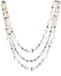 Nine West - Metallic Tri-tone Disc Triple-row Collar Necklace - Lyst
