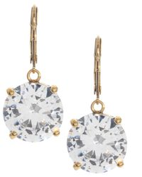 Betsey Johnson Metallic Circle Crystal Drop Earrings