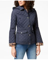 Laundry by Shelli Segal - Blue Printed-cuff Quilted Coat - Lyst