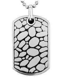 Macy's | Multicolor Men's Stainless Steel Necklace, Textured Dog Tag Pendant for Men | Lyst