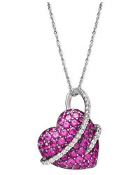 Macy's | Multicolor Sterling Silver Necklace, Ruby (2-1/2 Ct. T.w.) And Diamond (1/5 Ct. T.w.) Heart Pendant | Lyst