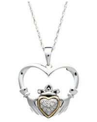 Macy's Metallic 14k Gold And Sterling Silver Pendant, Diamond Accent Claddagh Pendant
