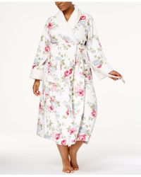 Charter Club | Pink Plus Size Long Floral-print Contrast Cotton Robe | Lyst