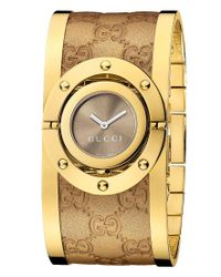 Gucci | Metallic Watch, Women's Swiss Twirl Yellow Gold Plated Stainless Steel And Sima Leather Bangle Bracelet 24mm Ya112434 | Lyst