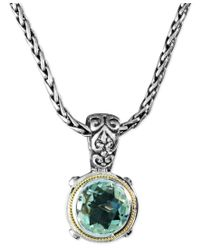 Effy Collection | Metallic Balissima By Effy Green Quartz Round Pendant (5 Ct. T.w.) In Sterling Silver And 18k Gold | Lyst