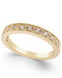 Macy's - Metallic Diamond Box Milgrain Band (1/4 Ct. T.w.) In 14k White Gold Or Yellow Gold - Lyst