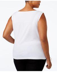 Calvin Klein White Plus Size Cowl-neck Top