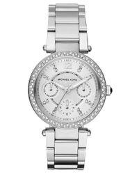 Michael Kors   Metallic Women's Chronograph Mini Parker Stainless Steel Bracelet Watch 33mm Mk5615   Lyst