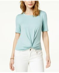Maison Jules - Blue Short-sleeve Twist-front Top, Created For Macy's - Lyst