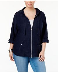 Style & Co. | Blue Plus Size Zip Hooded Jacket | Lyst