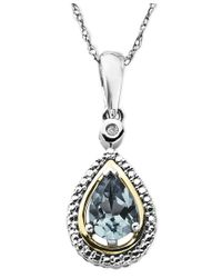 Macy's | Blue 14k Gold And Sterling Silver Necklace, Aquamarine (5/8 Ct. T.w.) And Diamond Accent Teardrop Pendant | Lyst