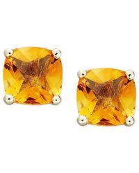 Macy's - Orange 14k Gold Earrings, Cushion Cut Citrine Stud Earrings (1-3/4 Ct. T.w.) - Lyst