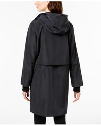 DKNY Black Faux-layered Hooded Rain Jacket