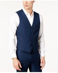INC International Concepts Blue Slim-fit V-neck Vest for men