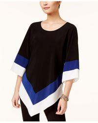 Alfani - Black Colorblocked V-hem Tunic - Lyst