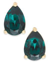 Kate Spade - Green Gold-tone Colored Stone Teardrop Stud Earrings - Lyst