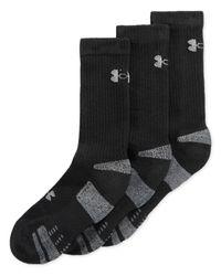 Under Armour Black Heatgear Crew Socks 3-pack for men