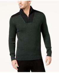 INC International Concepts | Green Men's Colorblocked Quarter-zip Sweater-jacket for Men | Lyst