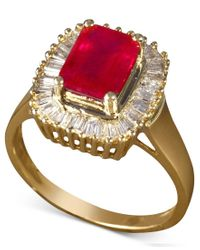 Effy Collection | Metallic Gemma By Effy Ruby (2-1/4 Ct. T.w.) And Diamond (1/2 Ct. T.w.) Baguette Ring In 14k Gold | Lyst