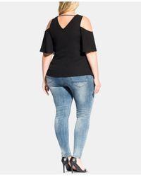 City Chic Black Trendy Plus Size Cold-shoulder Twist Top