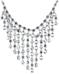 Carolee - White Silver-tone Bezel-set Crystal Statement Necklace - Lyst